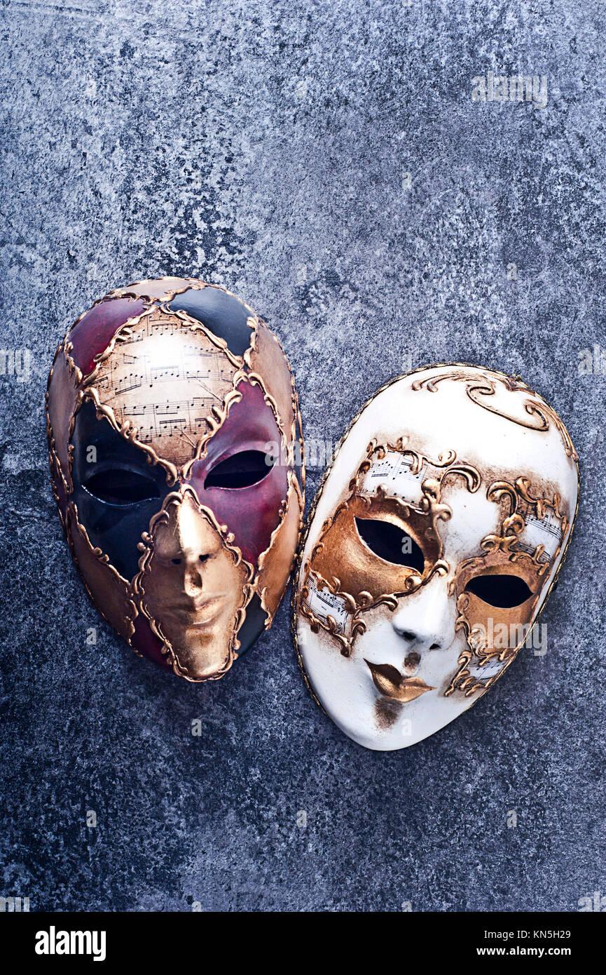 Due decorate carnevale veneziano mask Foto Stock