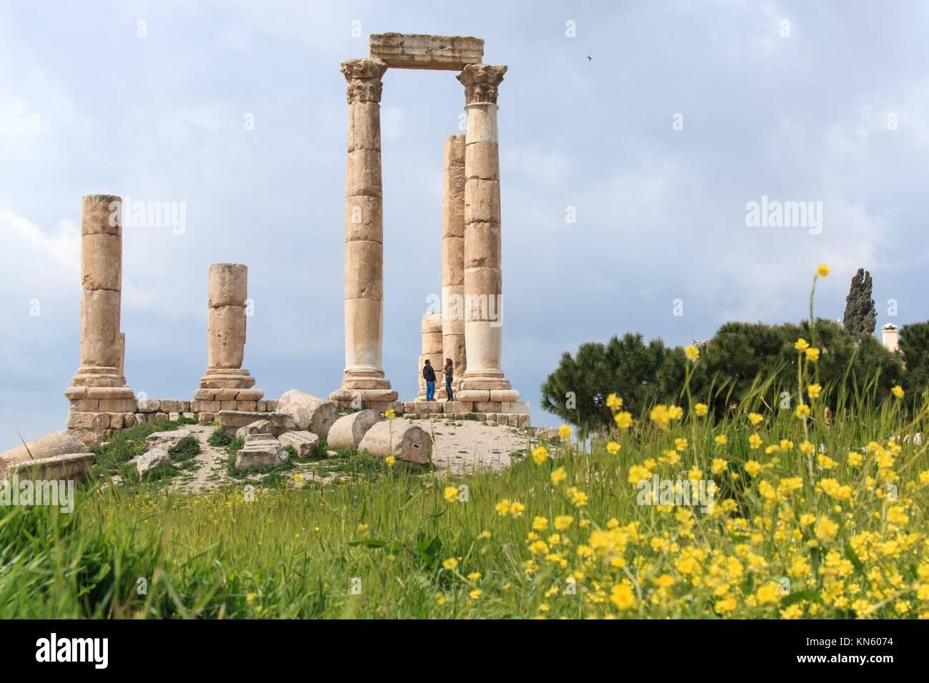 Cittadella di Amman resti in Giordania. Immagini Stock