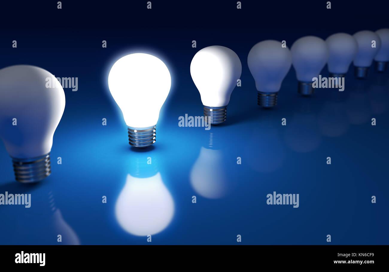 In piedi fuori con idee creative e di business del concetto di soluzione con una luce brillante lampadina incandescente Immagini Stock
