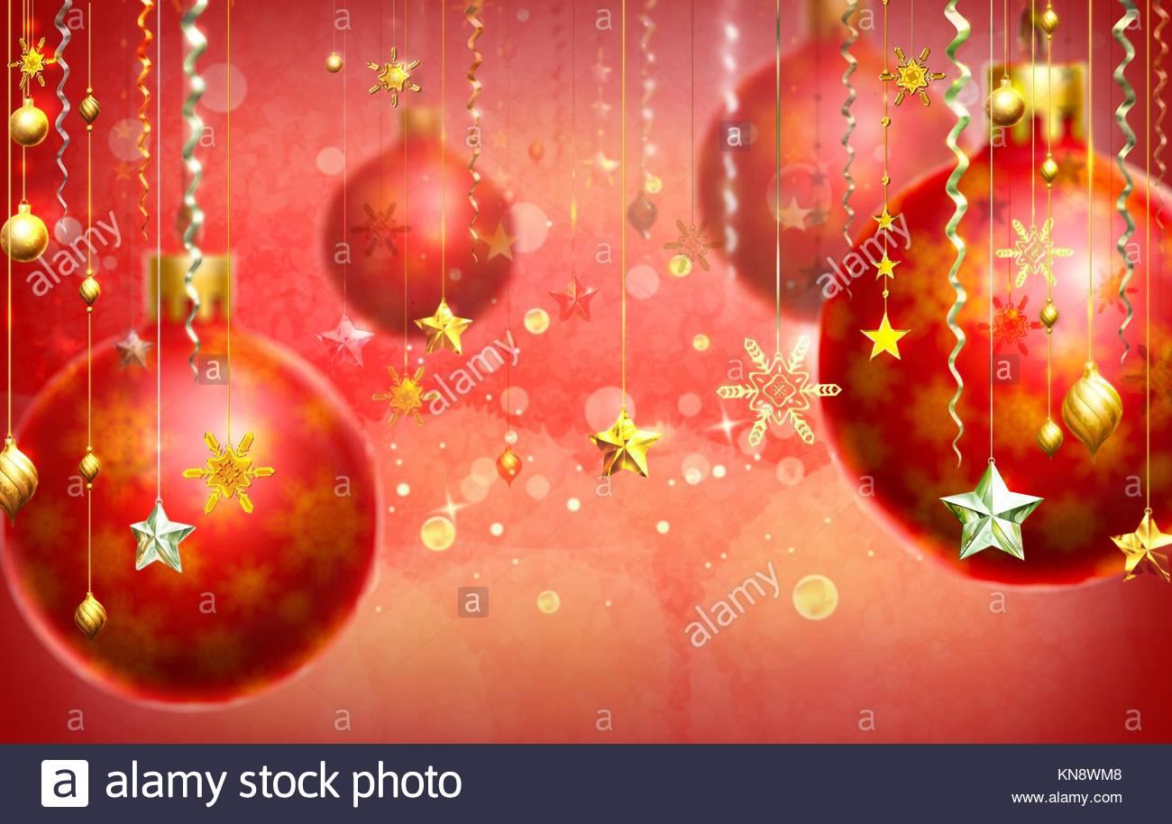 Sfondi Natalizi Eleganti.Natale Sfondo Astratto Con Diverse Decorazioni Che Pendono In Primo