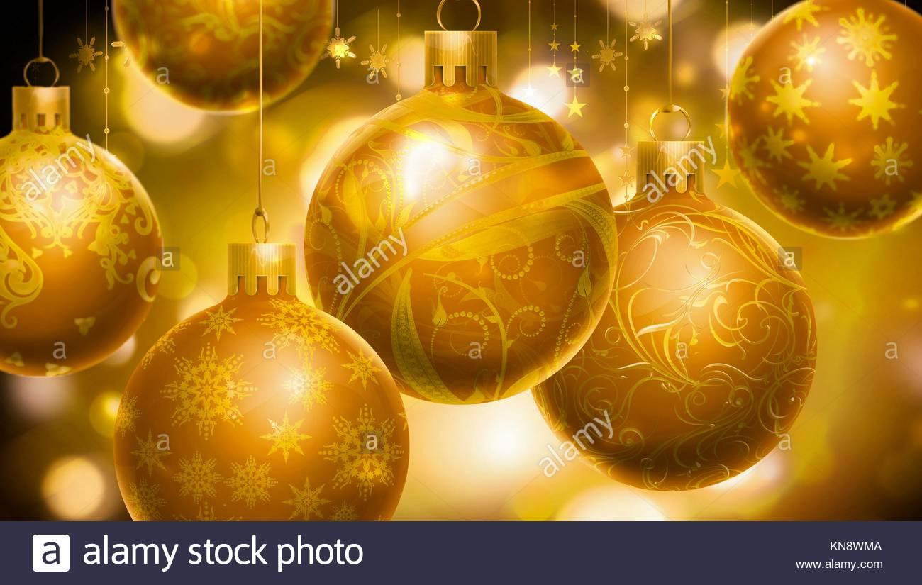 Sfondi Natalizi Oro.Natale Sfondo Astratto Con Grandi Sfere Decorate In Primo Piano Il