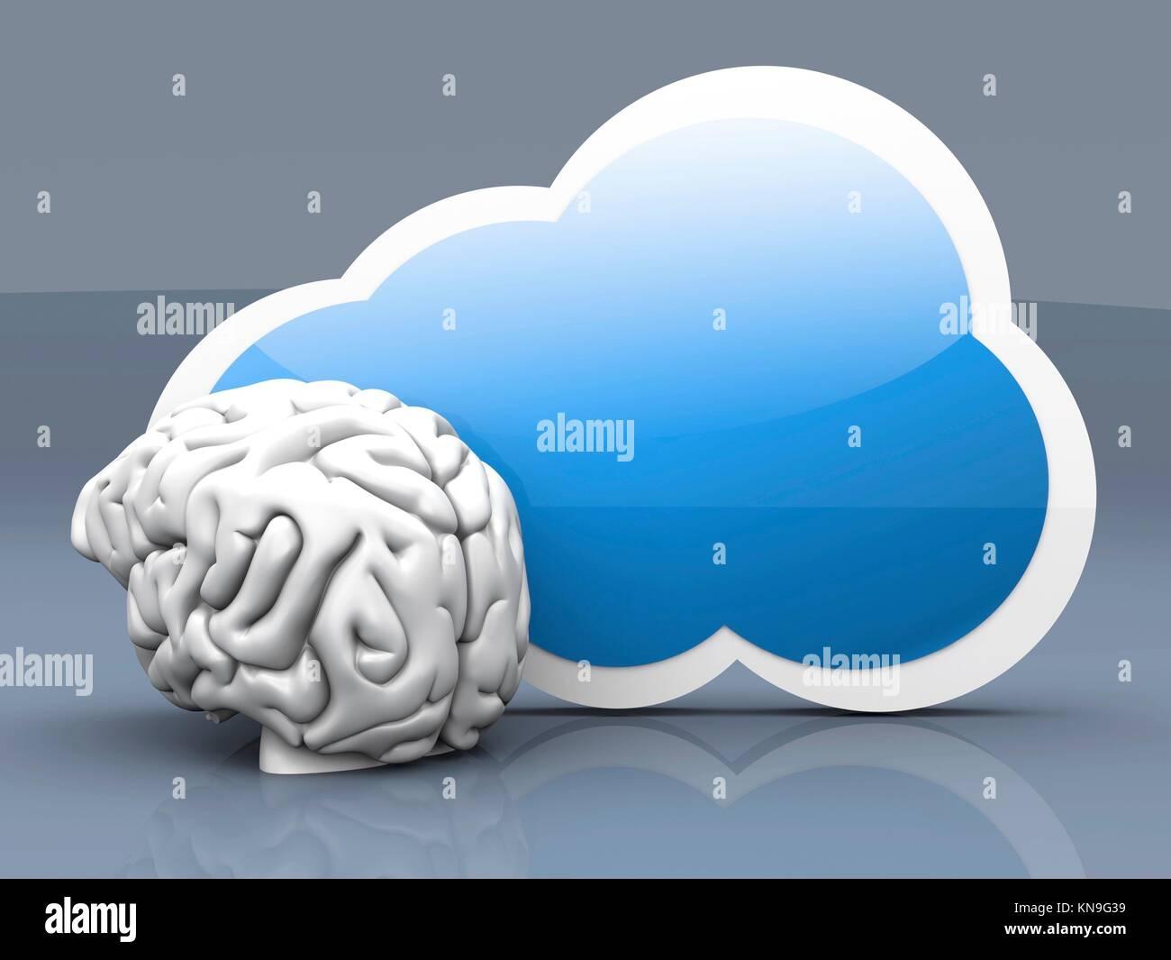 Intelligenza di cloud computing. 3D reso illustrazione. Immagini Stock