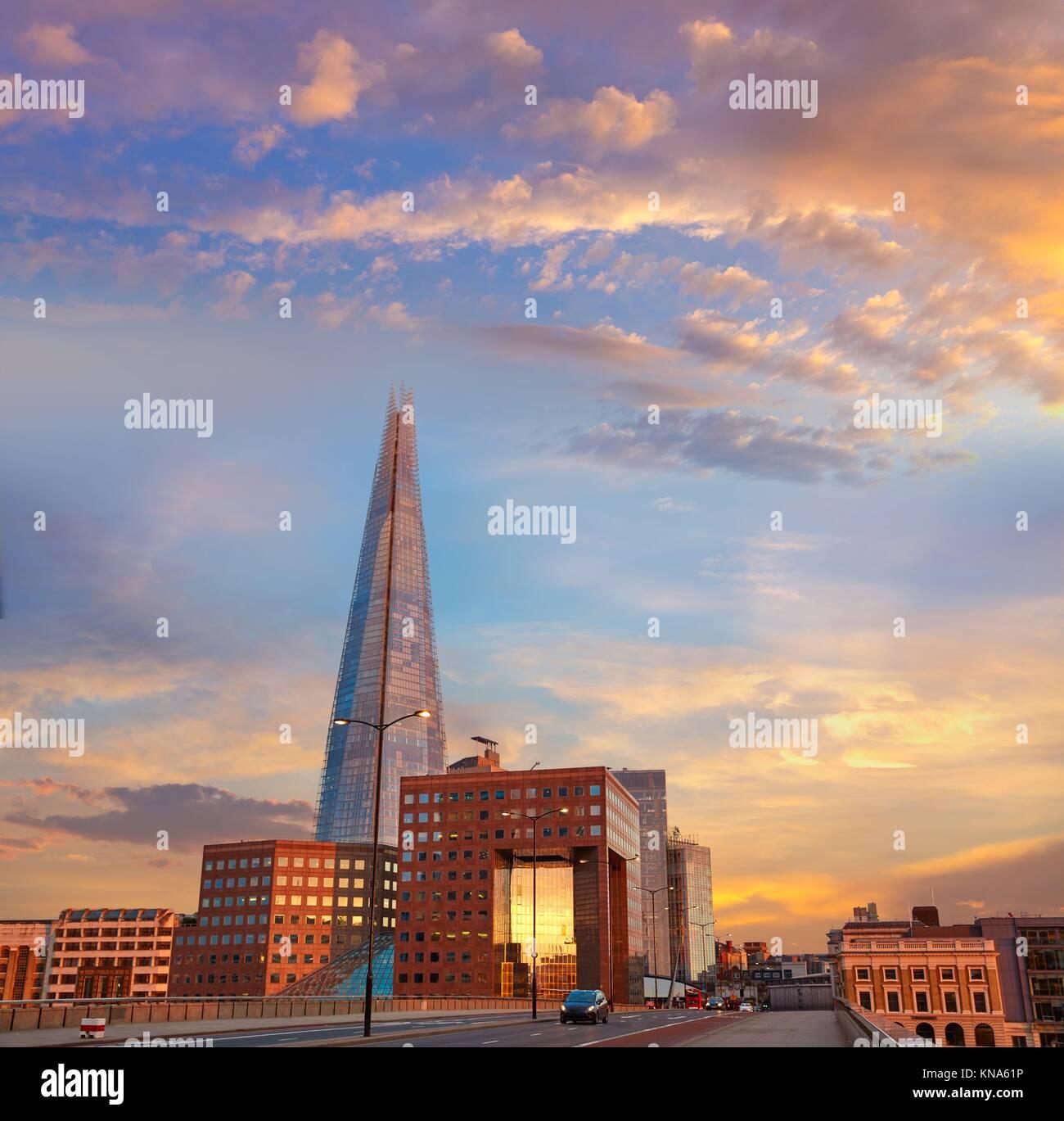 Londra The Shard edificio al tramonto in Inghilterra. Foto Stock