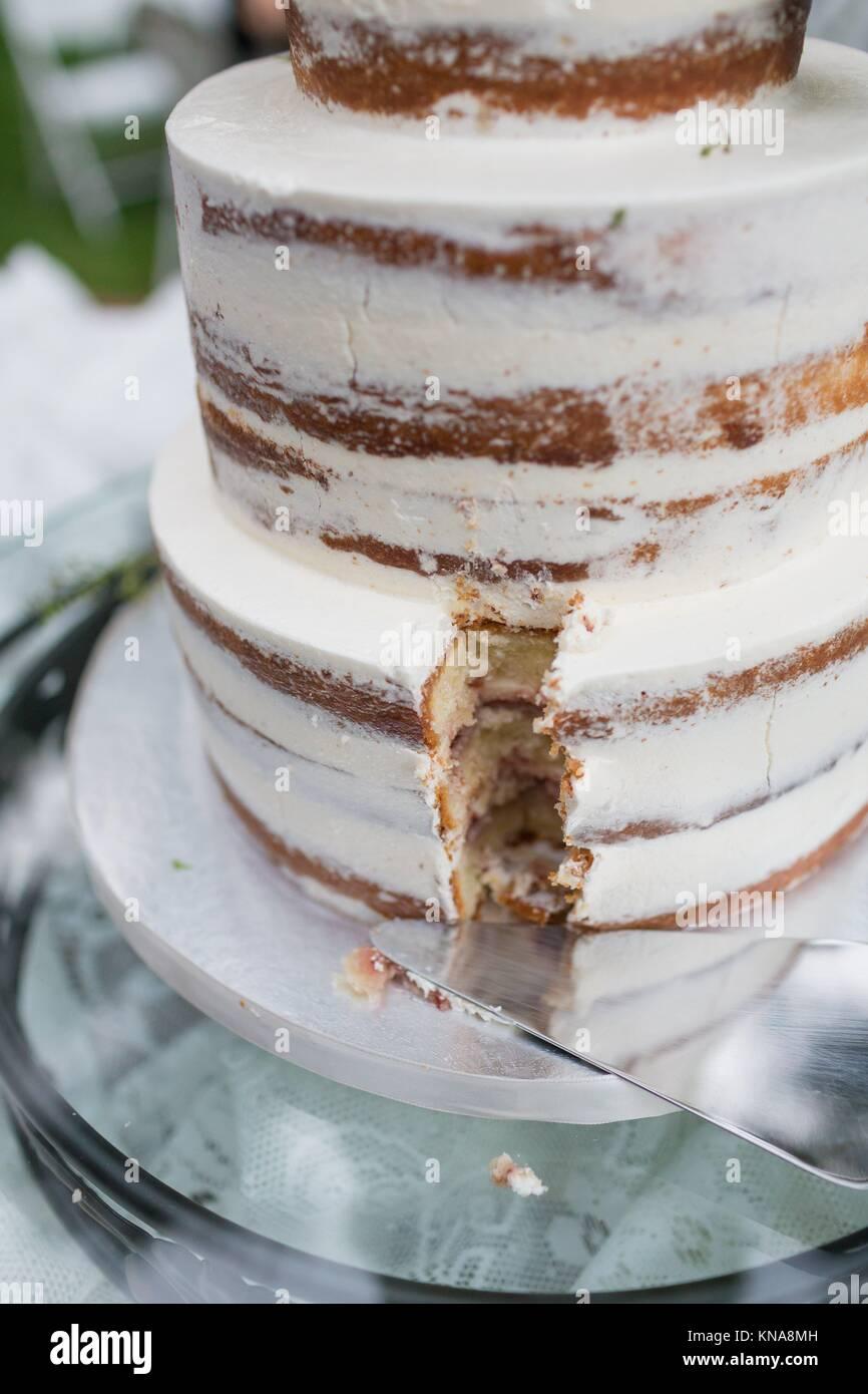 Elegante torta di nozze a un ricevimento all'aperto in Oregon. Immagini Stock