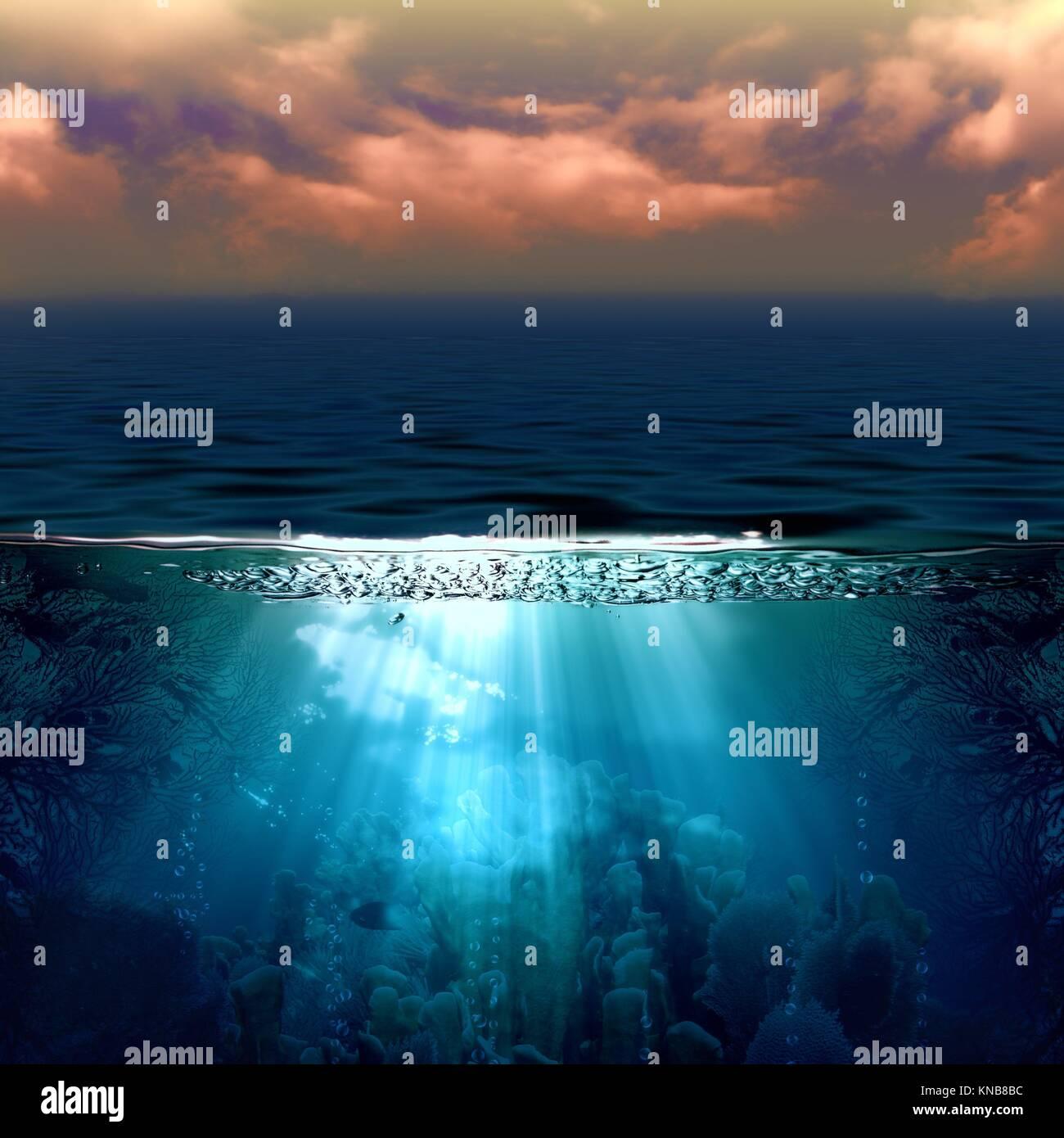 Abstract sfondi marini con sun beam e paesaggio sottomarino. Immagini Stock