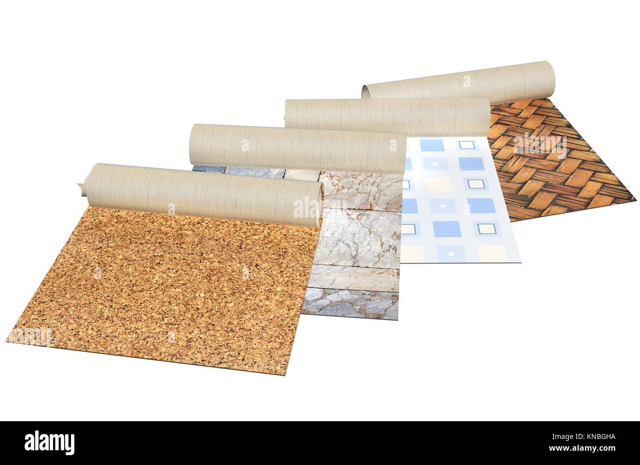 Nuovo linoleum di diversi colori con piastrelle di pietra sughero