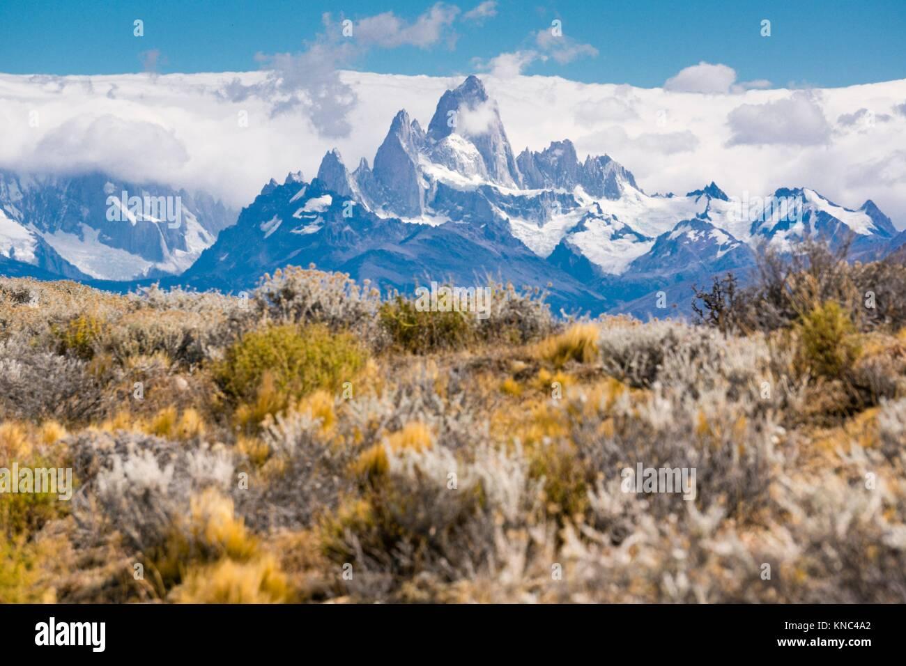 Monte Fitz Roy - Cerro Chaltén -, 3405 metropolitane, Parque Nacional Los Glaciares, Patagonia, Argentina. Immagini Stock
