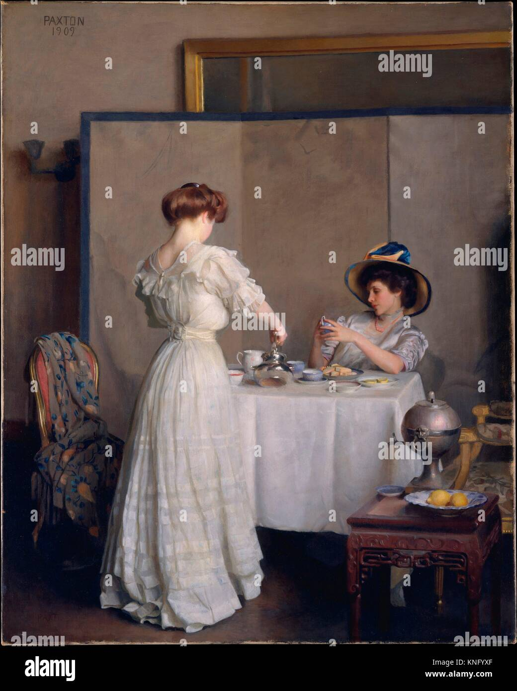 Le foglie di tè. Artista: William McGregor Paxton (American, Baltimore, Maryland 1869-1941 Boston, Massachusetts); Foto Stock