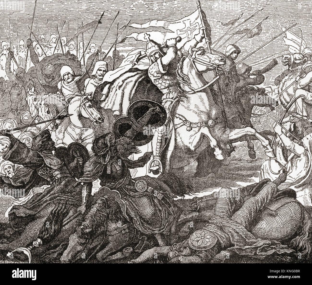 Charles Martel nella battaglia di Tours in 732. Charles Martel, c. 686 - 741. Statista Frankish e capo militare Immagini Stock
