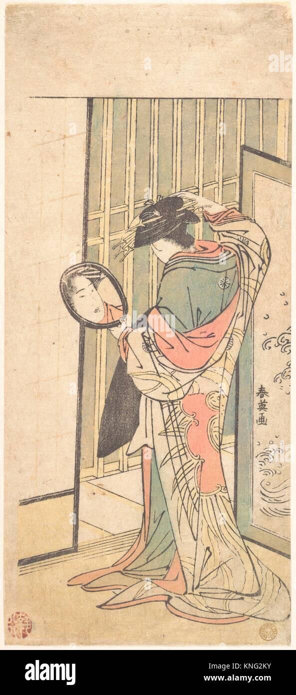 Una cortigiana guardando il suo riflesso in uno specchio a mano. Artista: Katsukawa Shun'ei (giapponese, 1762 Immagini Stock