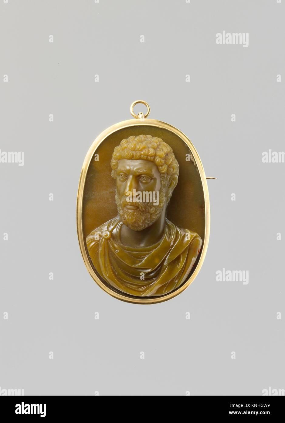 Busto di un romano. Data: probabilmente il XVII secolo; Cultura: Italiano; medie: Cryptocrystalline quartz (probabilmente Immagini Stock