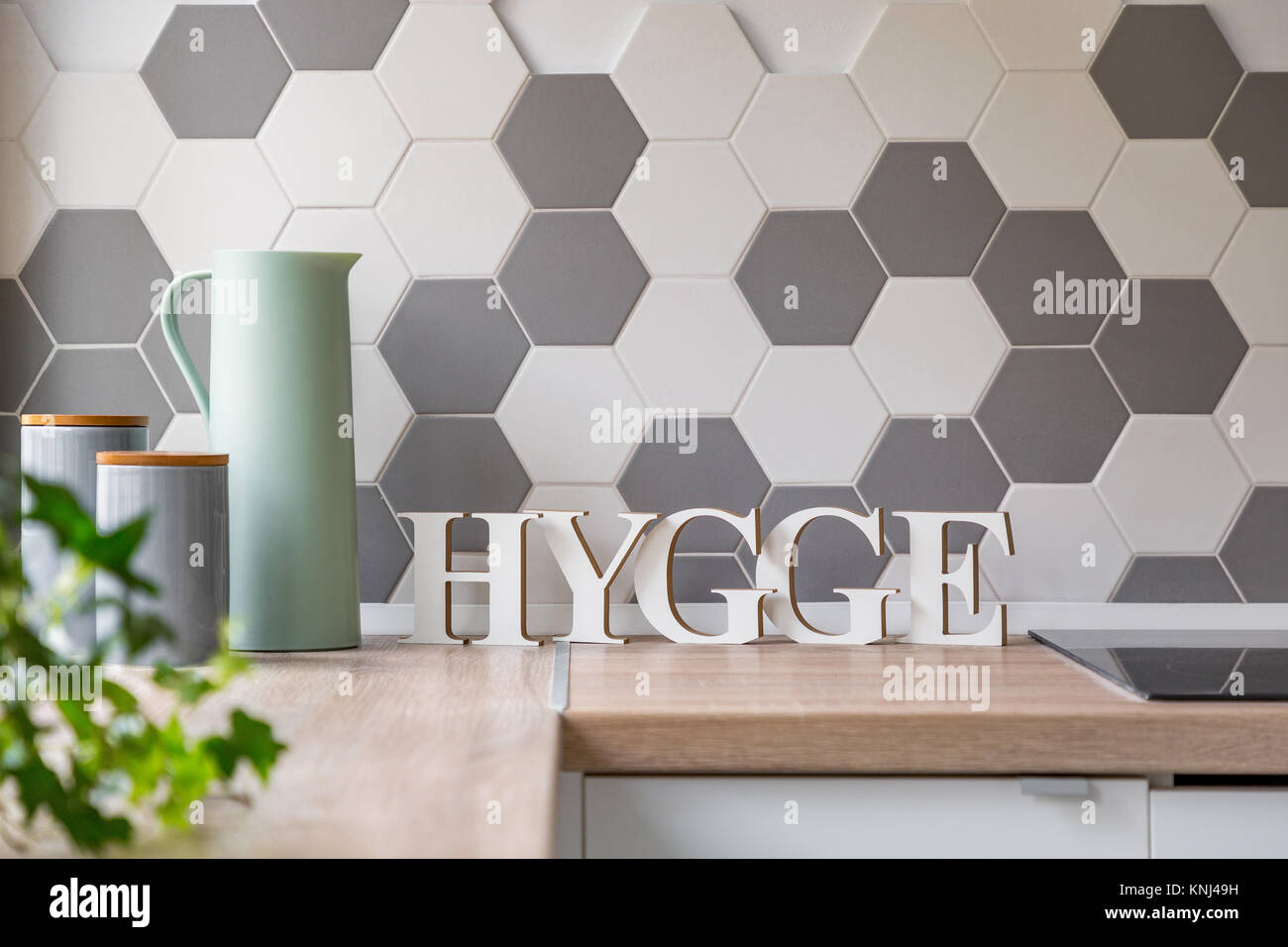 Cucina moderna con interni in stile scandinavo con bancone in legno ...