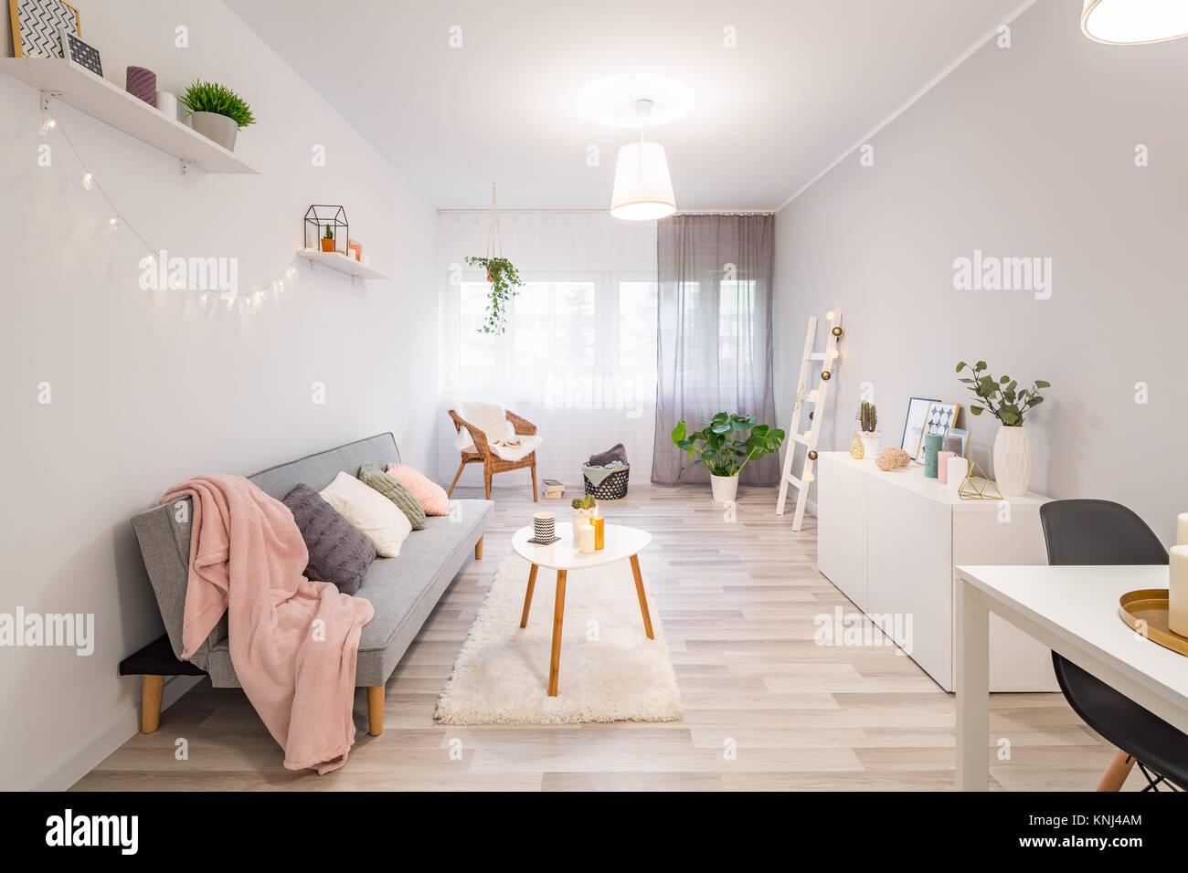 Stile nordico soggiorno con divano, armadio e tavolo da caffè Foto ...