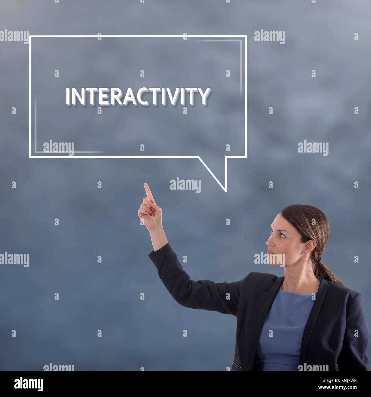 Interattività Concetto aziendale. Business donna concetto grafico Immagini Stock