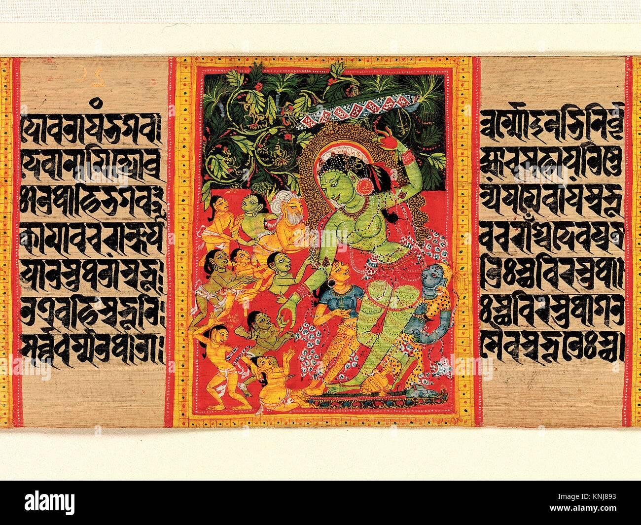 Tara Verde Boons di erogazione per entusiasti devoti: Folio da un manoscritto della Prajnaparamita Ashtasahasrika Immagini Stock