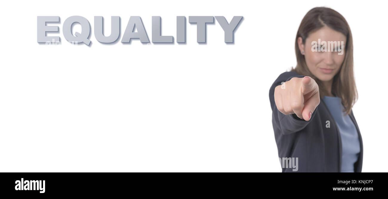 Business donna puntando il testo concetto di uguaglianza la concezione di business. Immagini Stock