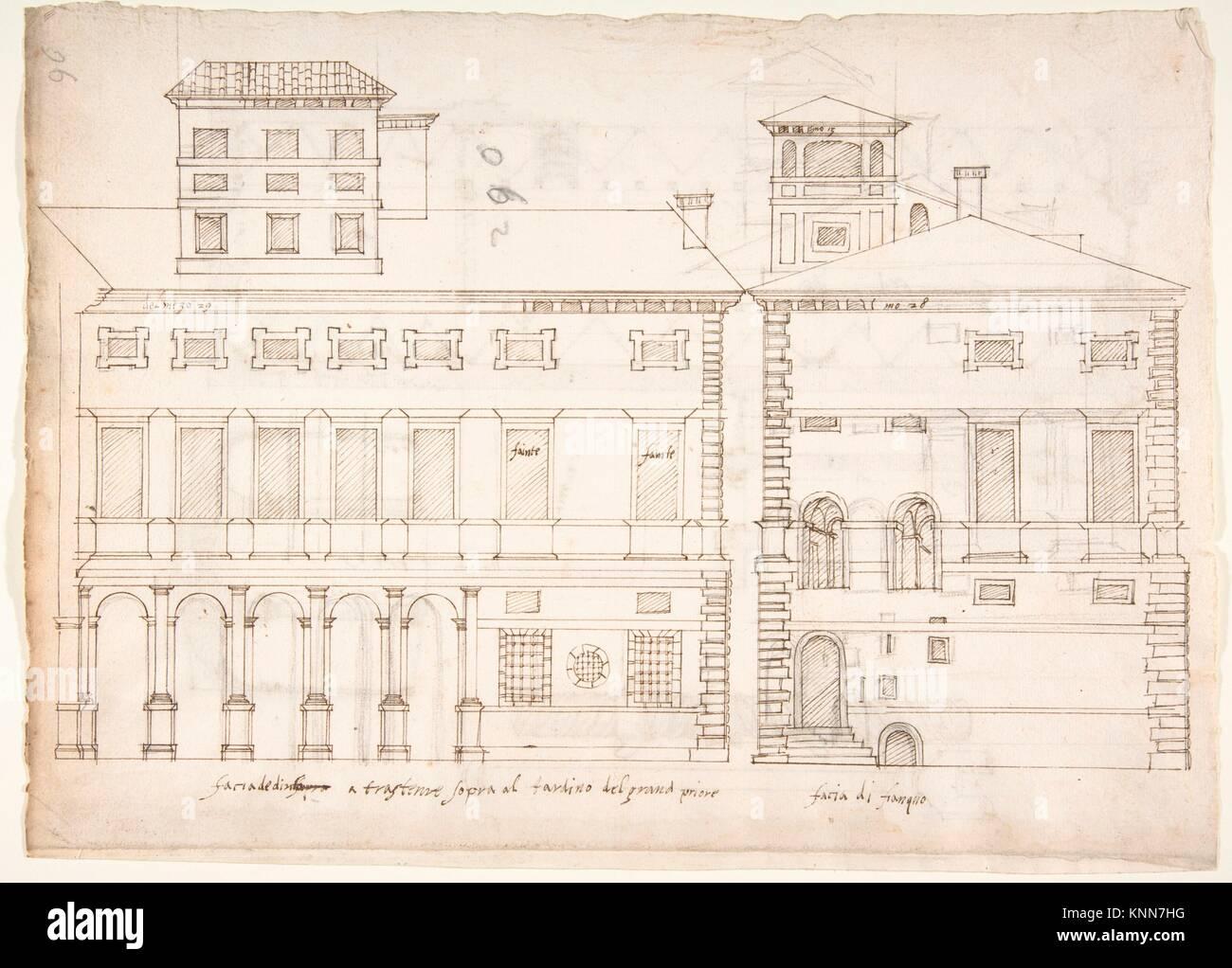 Palazzo Salviati-Adimari elevazioni (recto) Villa Farnesina maneggio, in pianta e di sezione; il disegno di una Immagini Stock