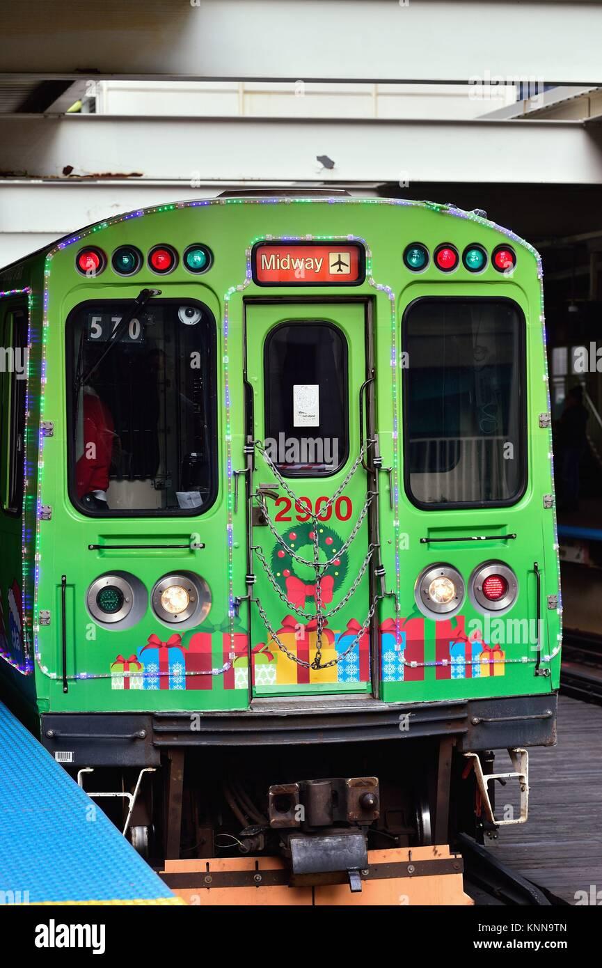 Il CTA in Chicago opera speciale vacanze treni in anticipo di Natale annualmente oltre il suo intero sistema. Chicago, Immagini Stock