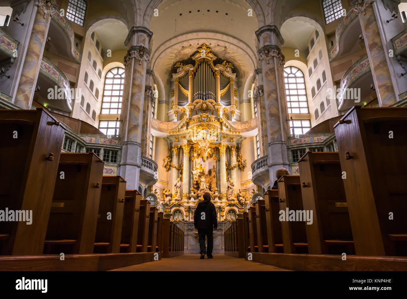 La Frauenkirche di Dresda Architettura interni ornati religione decorazione altare Area di culto Immagini Stock
