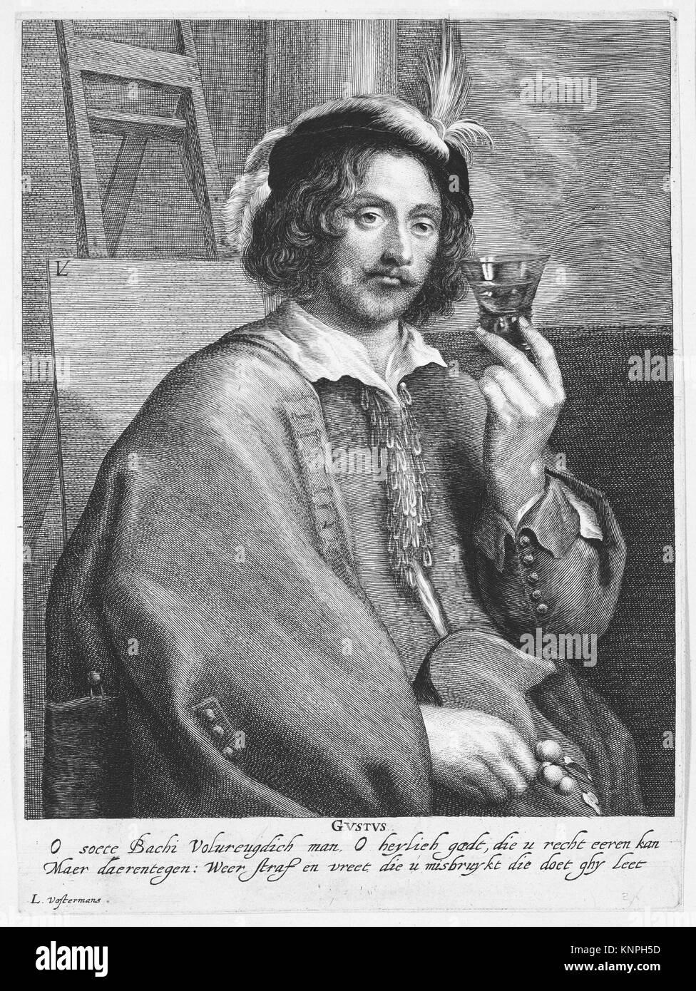 Allegoria del gusto (Ritratto del pittore Jan Davidsz de Heem, dopo un self-portrait). Artista: Lucas Vorsterman I (fiammingo, Zaltbommel 1595-1675 Foto Stock