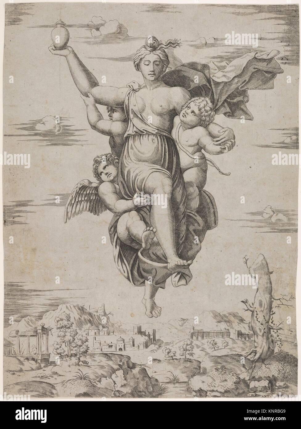 Psiche che trasportano acque di Styx (dalla Farnesina affreschi). Artista: Cerchio di Marcantonio Raimondi (italiano, Immagini Stock