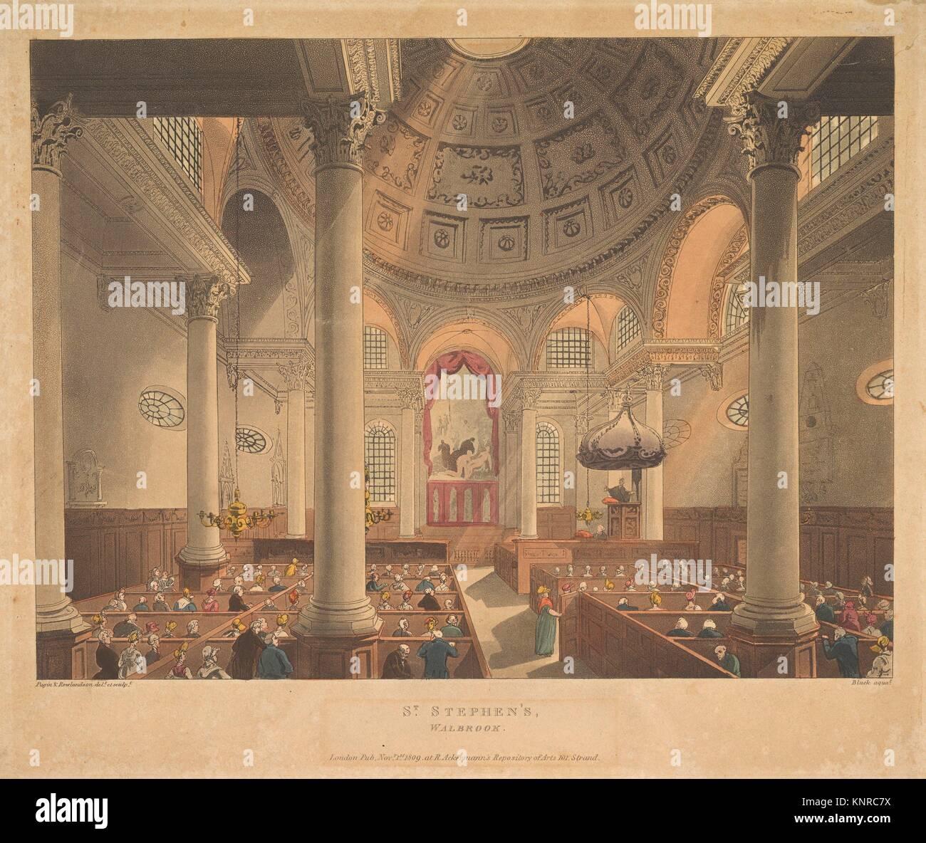 Santo Stefano Walbrook (microcosmo di Londra, pl. 90). Serie/Portfolio: microcosmo di Londra; Artista: progettato Immagini Stock