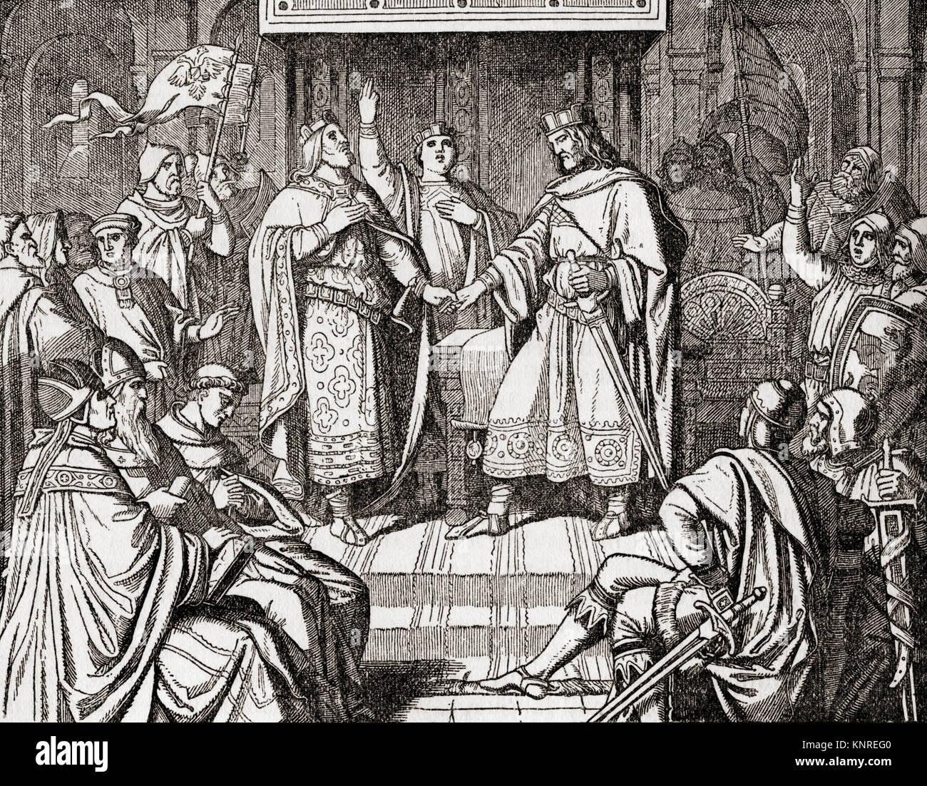 Il trattato di Verdun, firmato nel mese di agosto 843 da Lothair I, Louis il tedesco e Carlo il Calvo. Prima dei Immagini Stock