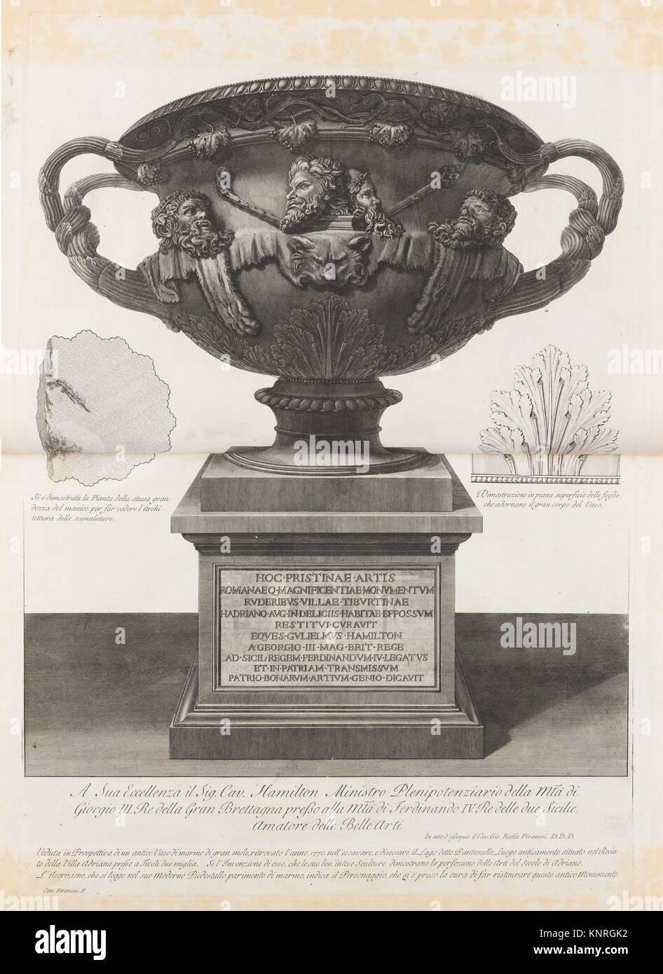 Grande Vaso trovato al Pantanello, Villa Adriana, Tivoli, nel 1770 (il vaso di Warwick, da vasi, candelabri, cippi, Immagini Stock