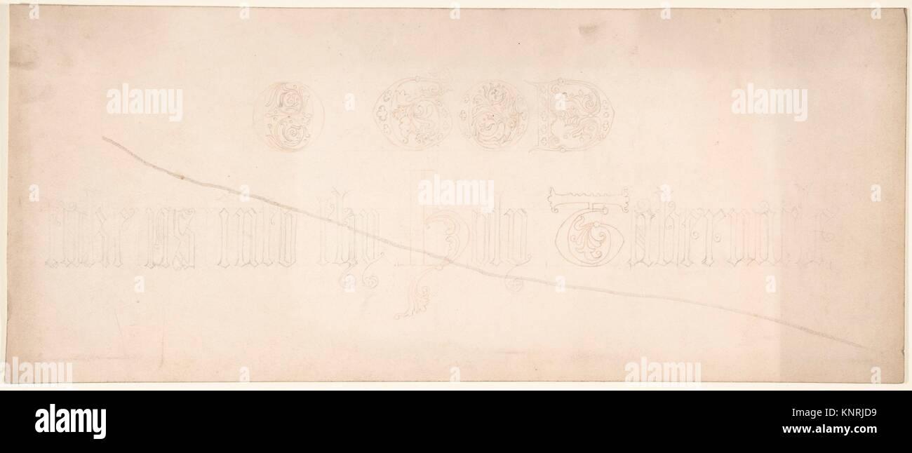 Iscrizione in lettere gotiche. Artista: Freeman Gage Delamotte (British, Sandhurst 1813/14-1862 Londra); data: 1830 Immagini Stock
