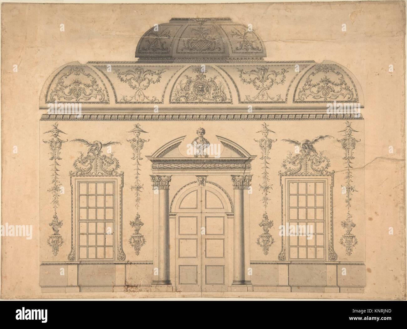 Design per la decorazione della finestra porta la parete di una camera in stile rococò con un soffitto coperte Immagini Stock