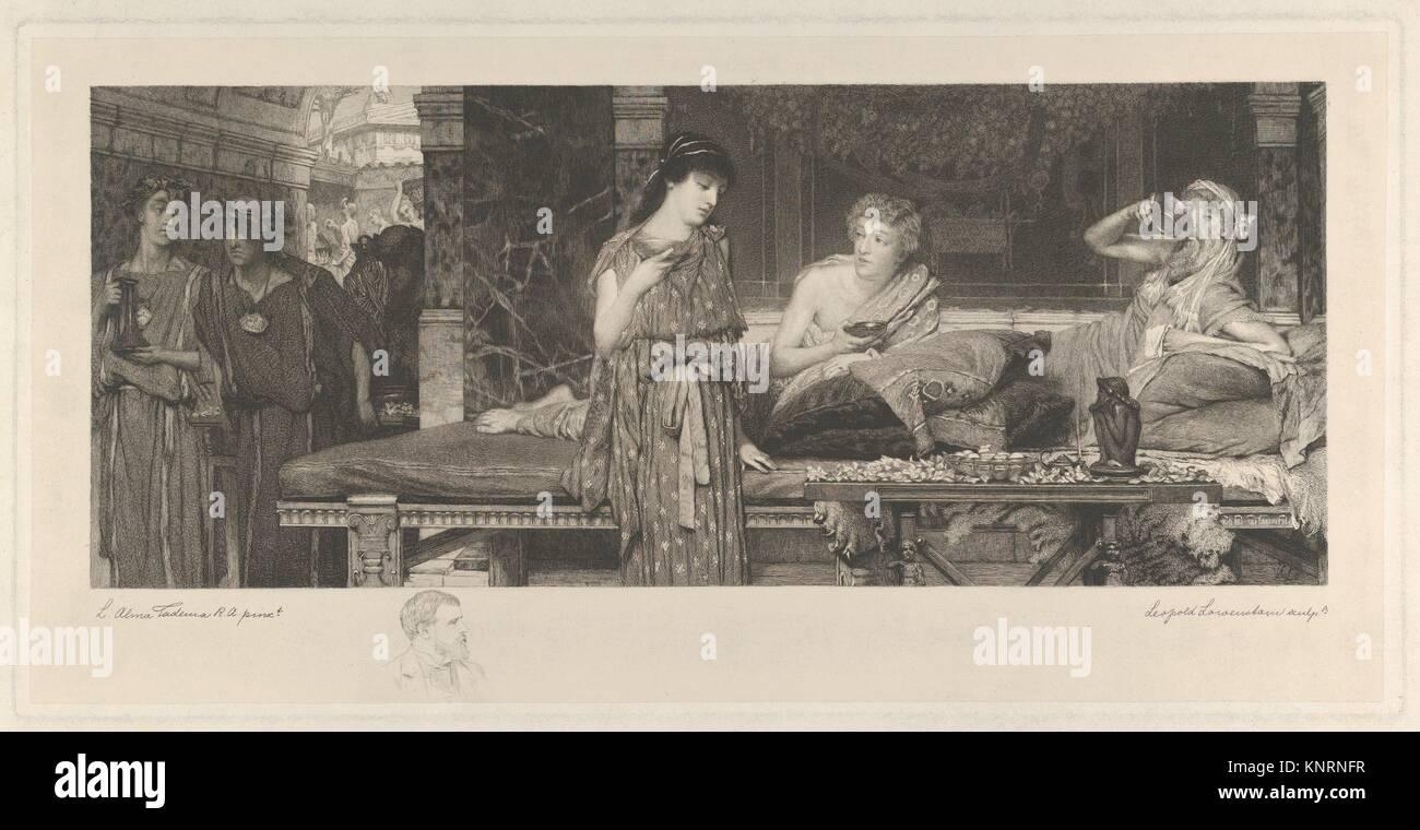 Il primo Course-The cena. Artista: Dopo Sir Lawrence Alma-Tadema (British (nato nei Paesi Bassi), Dronrijp 1836 Immagini Stock