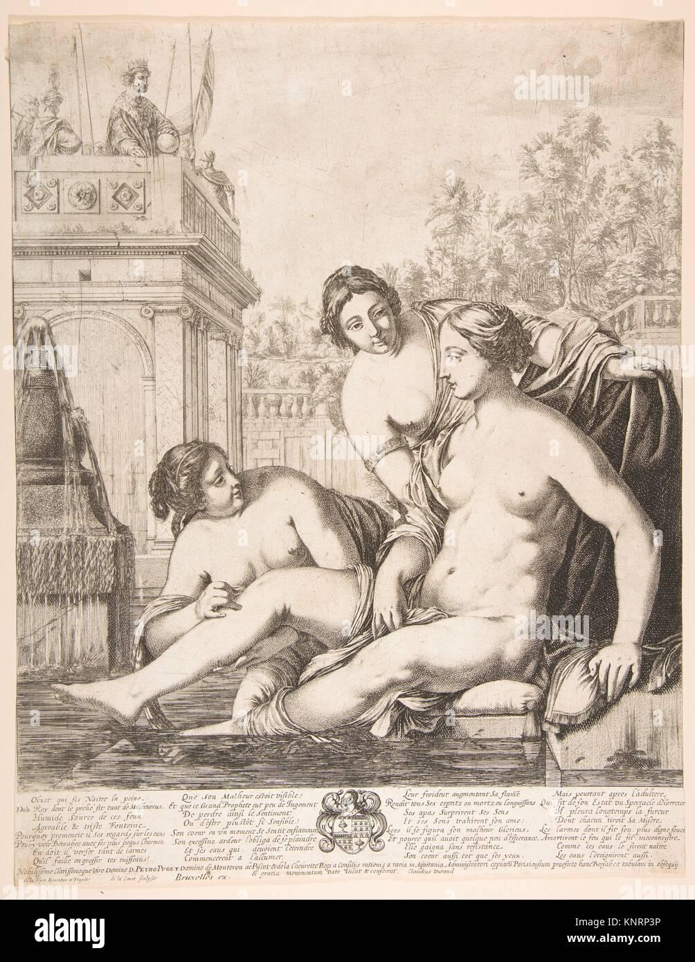 David guardando Bathsheba bagnarsi. Artista: de la Corte; Artista: Dopo Laurent de La Hyre (francese, Parigi Parigi Immagini Stock