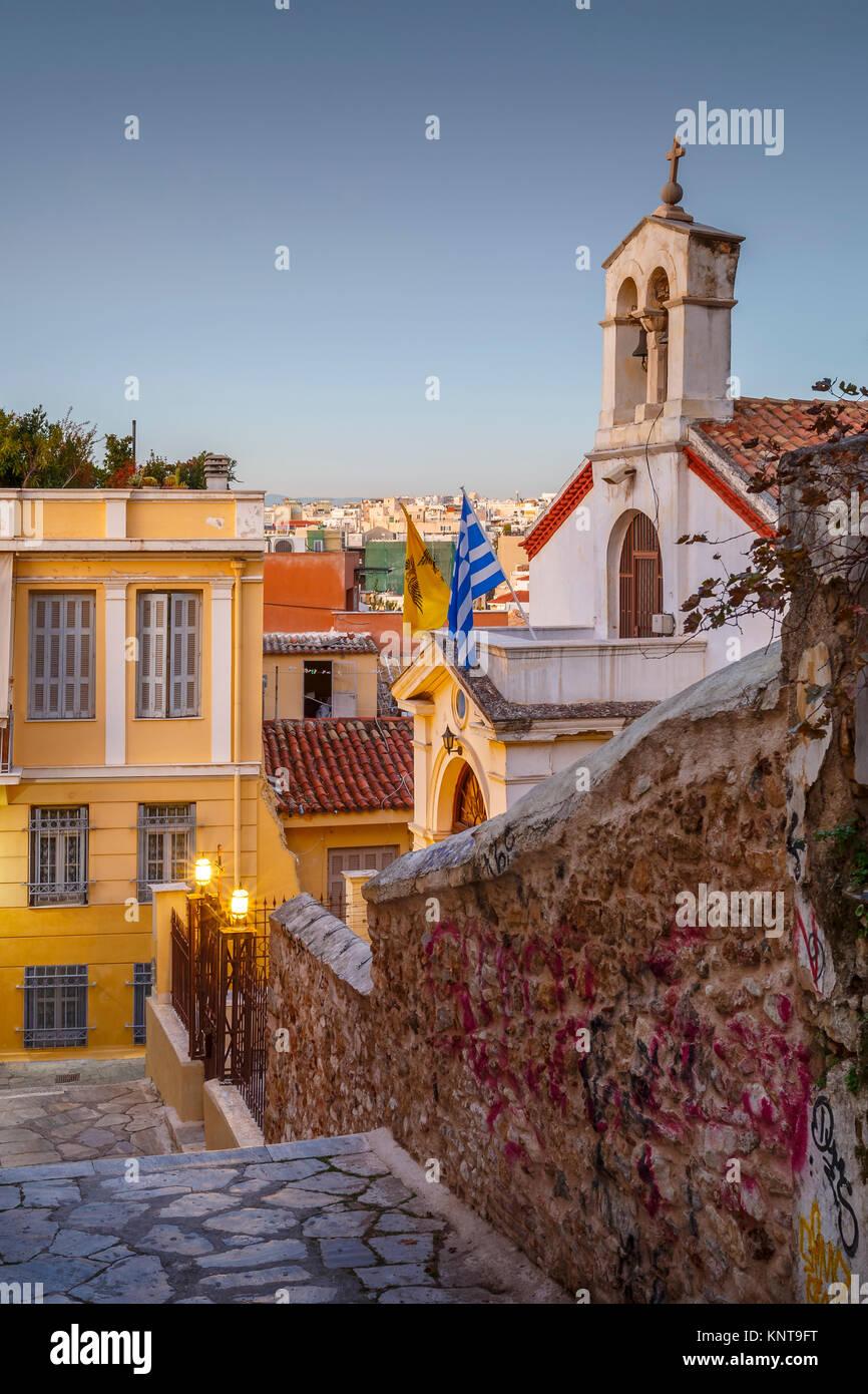 Chiesa in Plaka, la città vecchia di Atene, Grecia. Immagini Stock