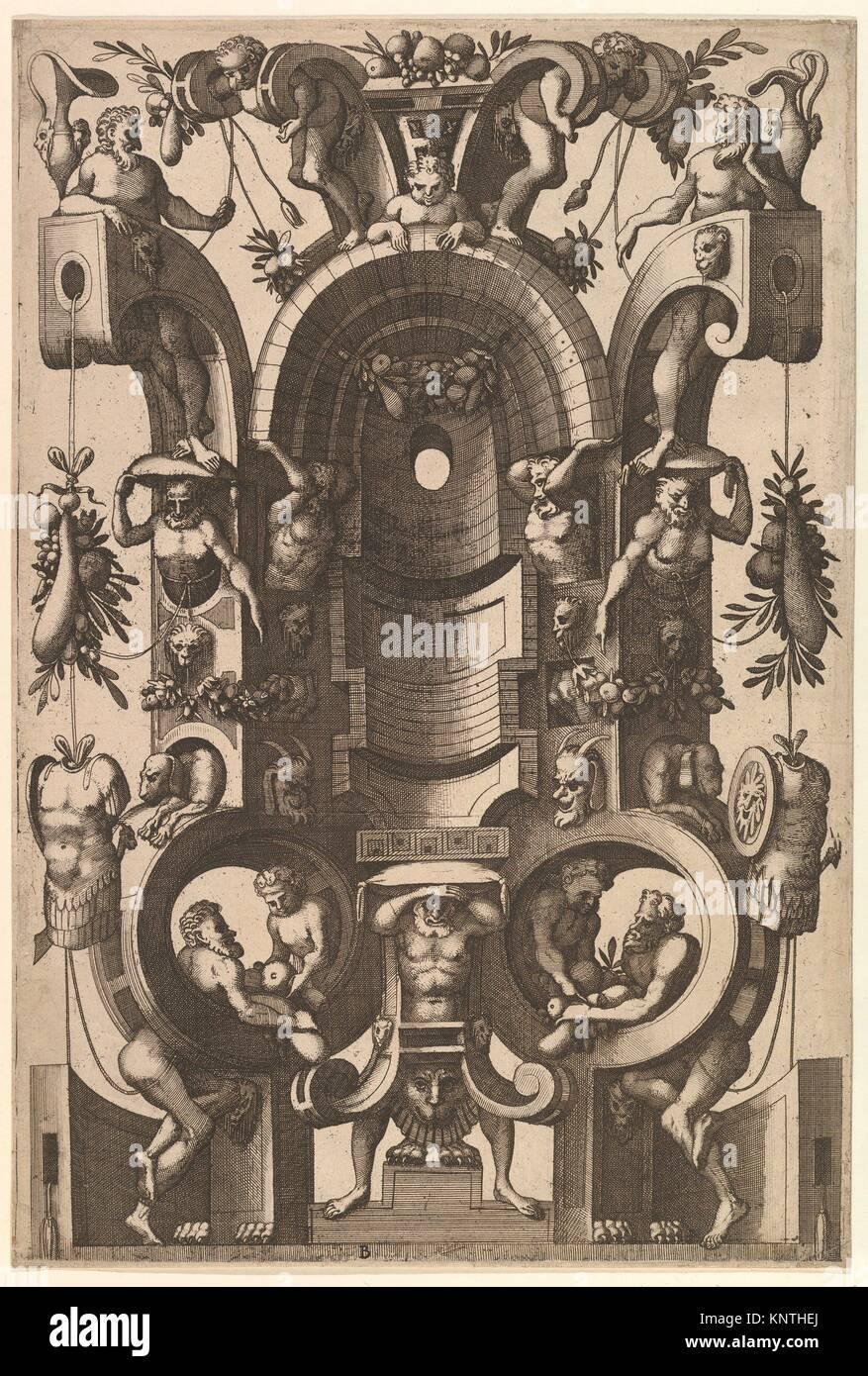 Di nicchia in forma di un cartiglio da Veelderleij Veranderinghe van grotissen ende Compertimenten.Libro primo. Immagini Stock