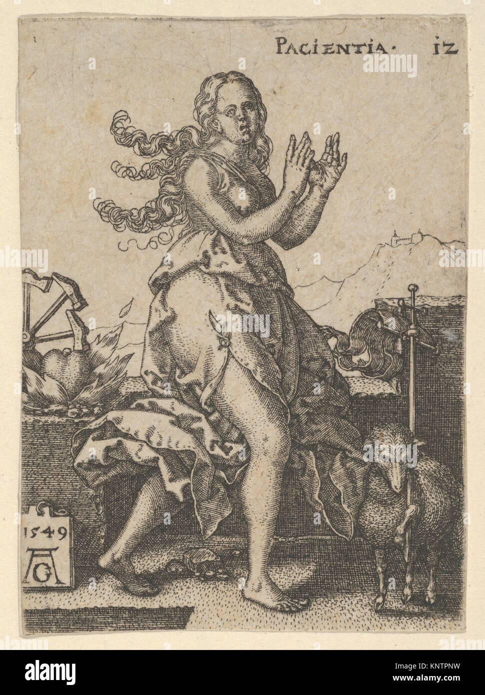 Pazienza, dalla virtù e vizi. Serie/Portfolio: le virtù e i vizi; Artista: Heinrich Aldegrever (tedesco, Immagini Stock