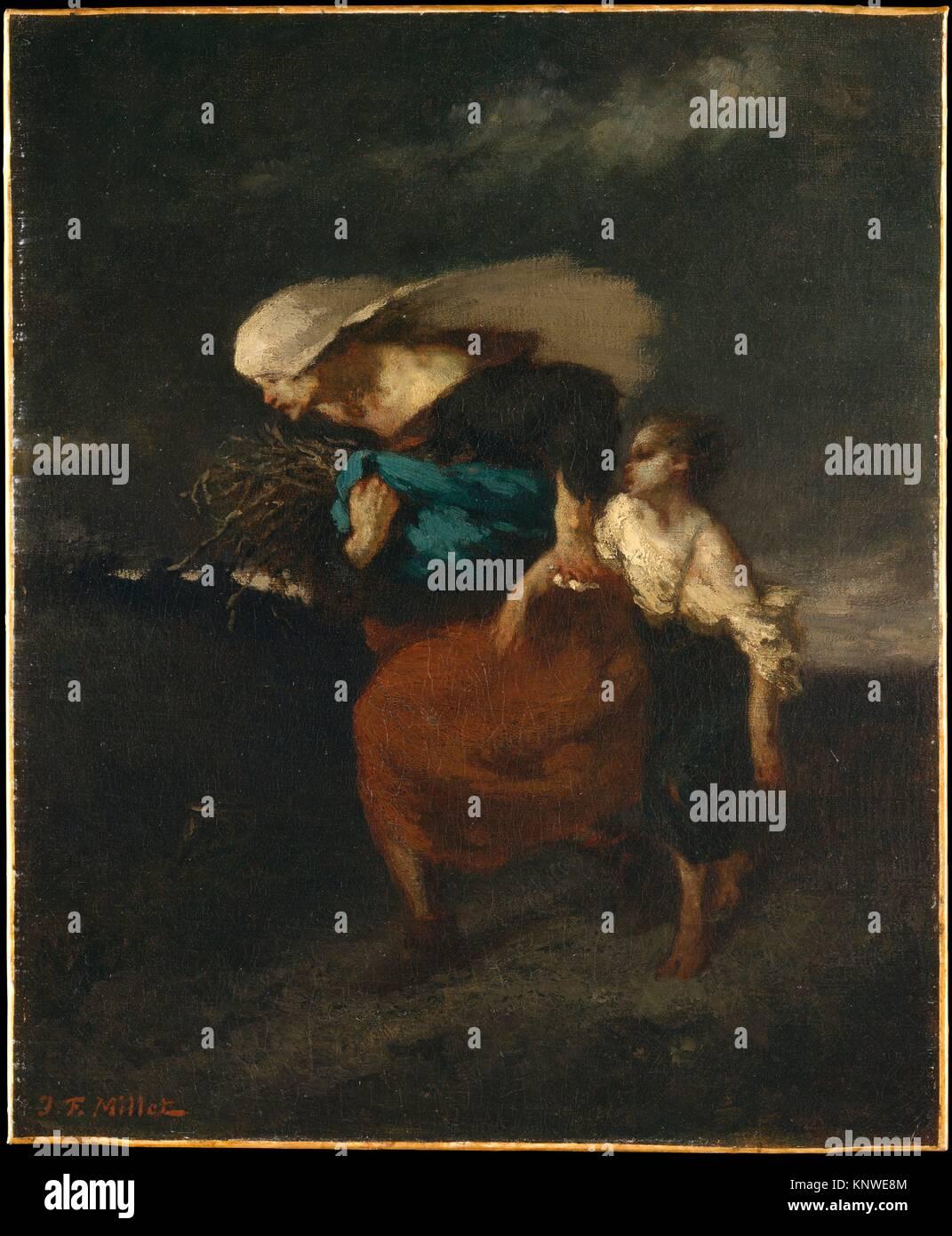 Rifugio dalla tempesta. Artista: Jean-François Millet (Francese, 1814-1875 Gruchy Barbizon); data: ca. 1846; mezzo: Olio su tela; Dimensioni: 18 1/4 x Foto Stock