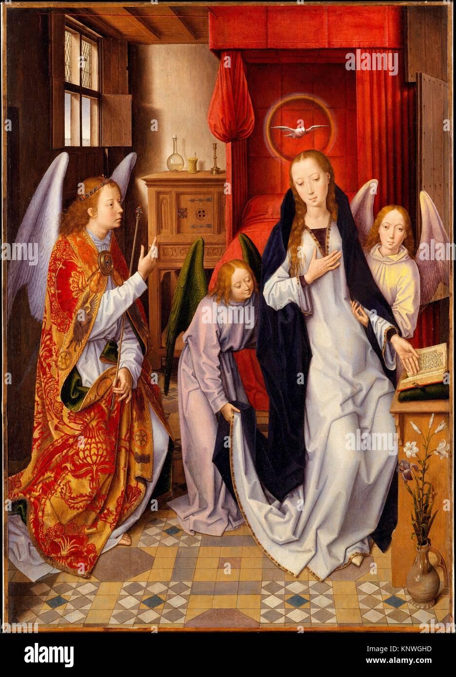 L'Annunciazione. Artista: Hans Memling (Netherlandish, Seligenstadt, attivo dal 1465-morto 1494 Bruges); data: Immagini Stock