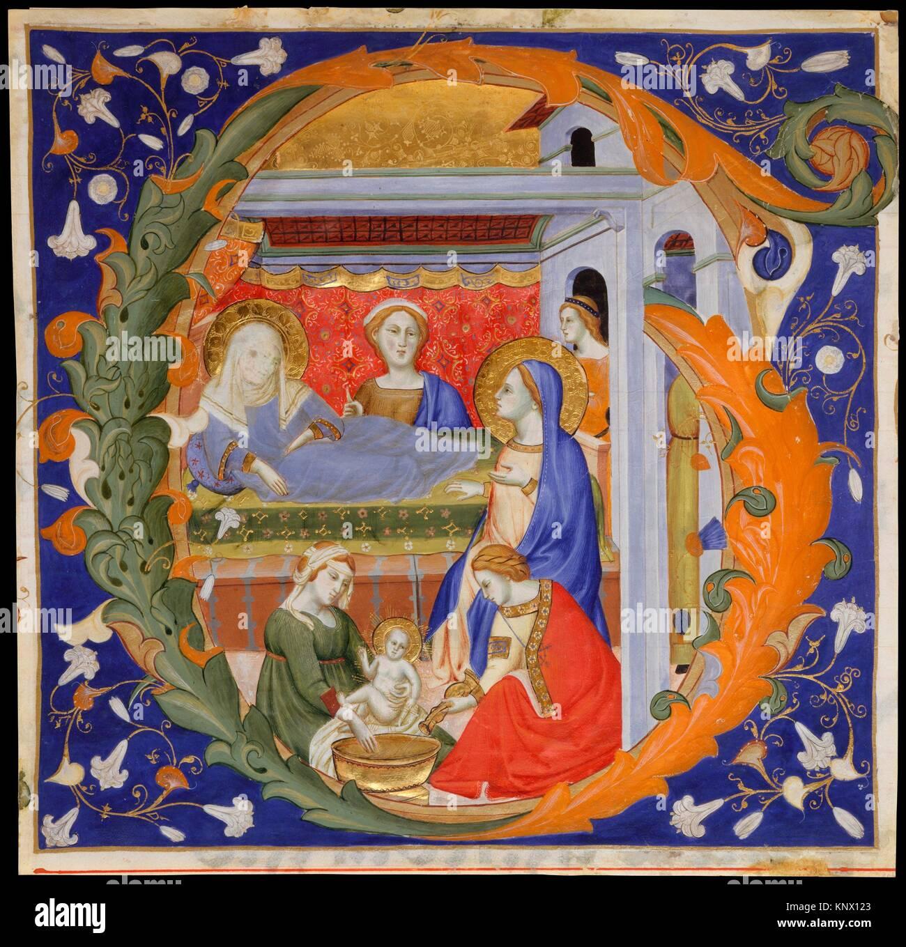 Manoscritto con la nascita della vergine in una iniziale G, da una graduale. Artista: Don Silvestro de' Gherarducci Immagini Stock