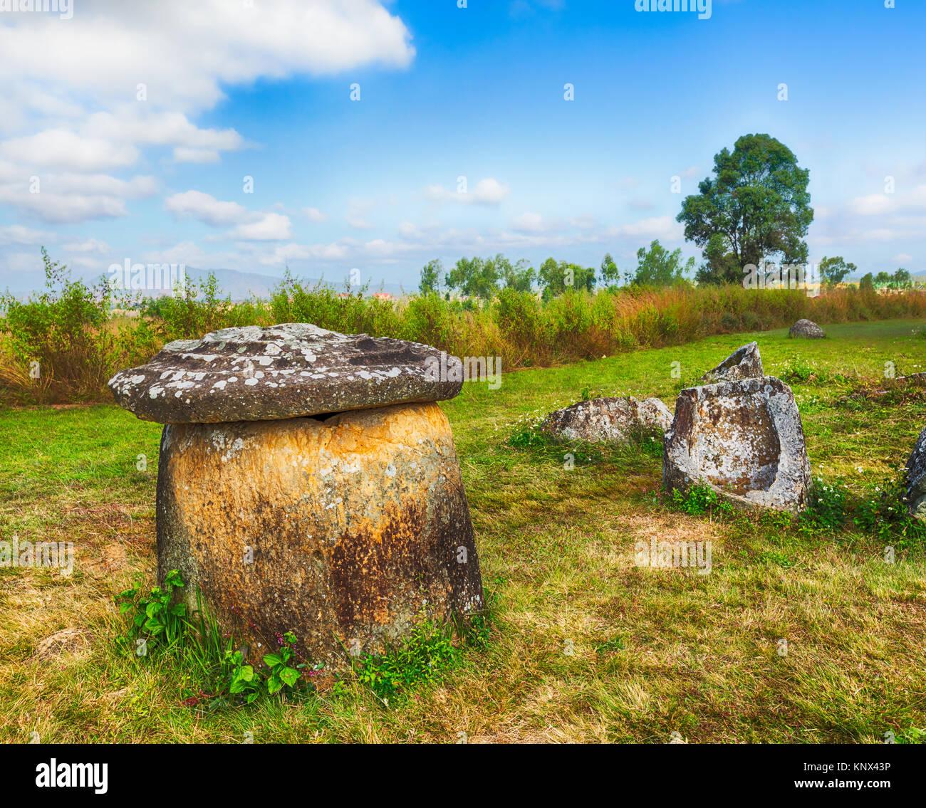 Vaso con coperchio. Paesaggio archeologico della pianura dei vasi. Laos Foto Stock