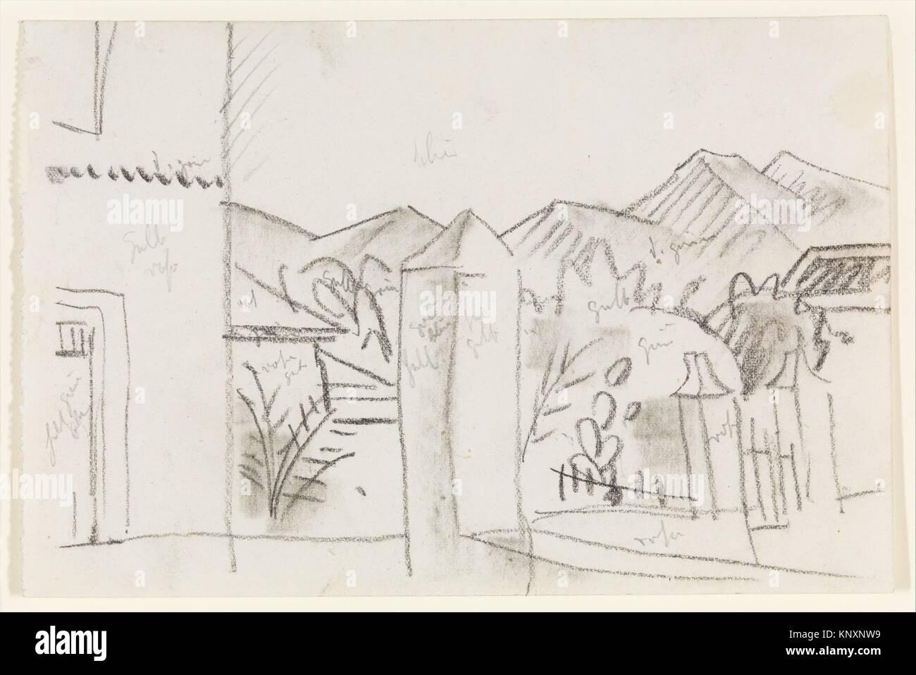 Vista tunisino. Artista: August Macke (tedesco, Meschede 1887-1914 vicino Perthes-les-Hurlus); data: 1914; mezzo: Immagini Stock