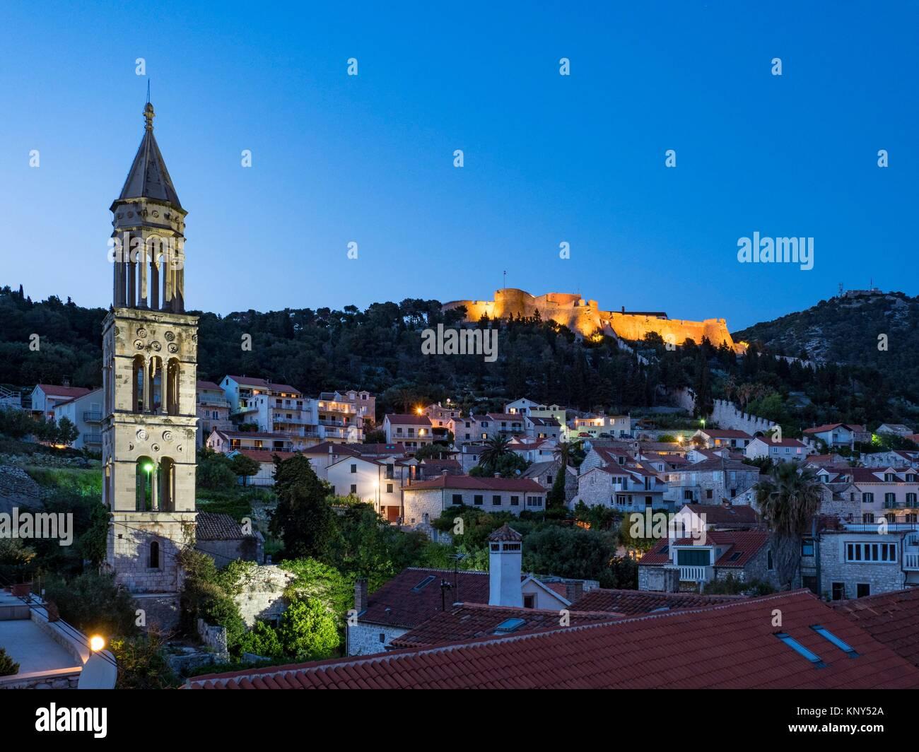 Hvar Villaggio sull'isola di Hvar Croazia. Immagini Stock