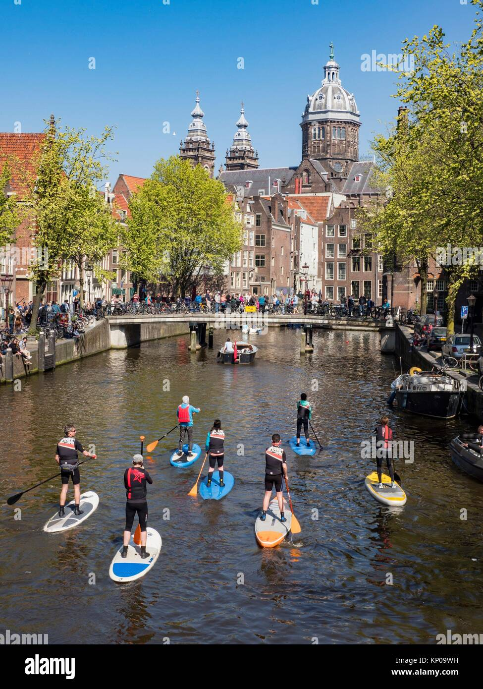 Amsterdam Canal Paddleboard. Immagini Stock