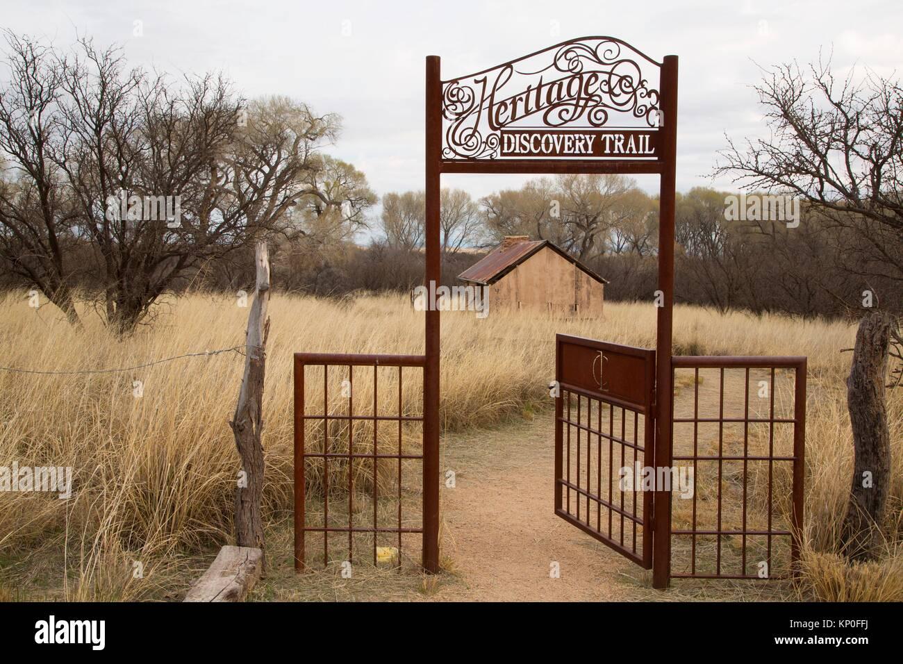Heritage Discovery Trail gateway, Las Cienegas National Conservation Area, Arizona. Immagini Stock