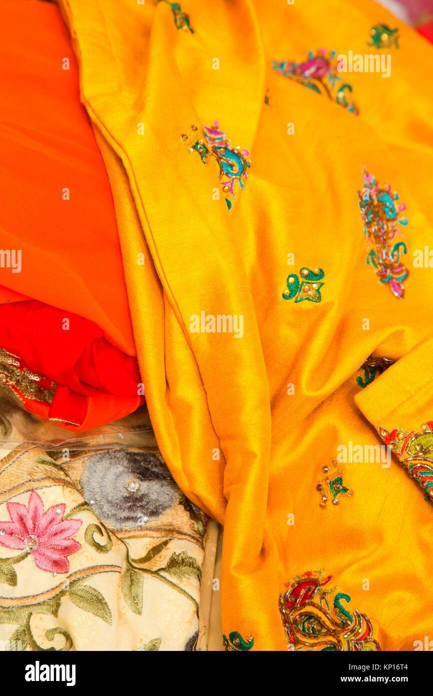 Tessuto colorato, Sikh parata del giorno, Salem, Oregon. Immagini Stock