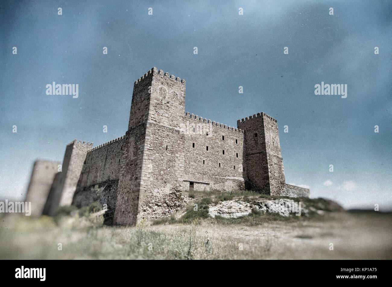 Castello di Siguenza, di origine araba fu costruito nel XII secolo è ora Parador Nacional de Turismo, Guadalajara, Immagini Stock