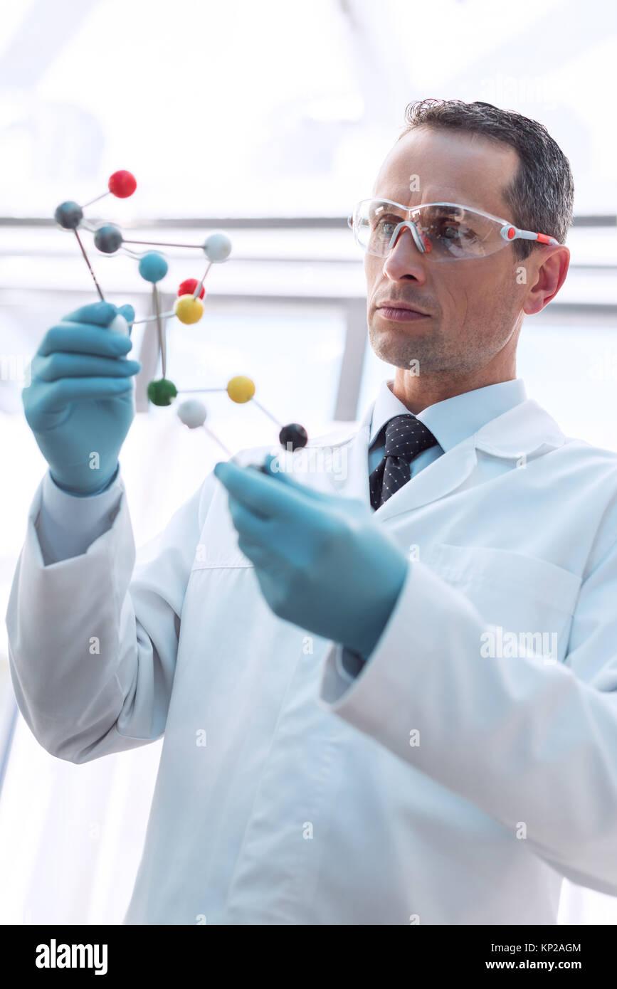Medico di esaminare il modello molecolare Foto Stock