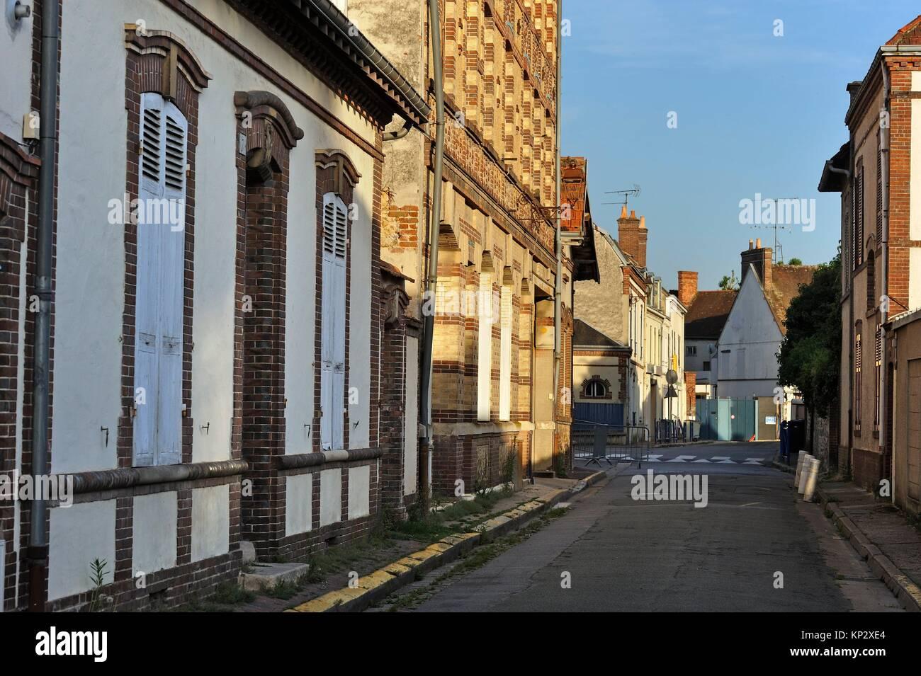 Architettura villageoise typique des regioni Thymerais et Drouais, Nogent-le-Roi, departement Eure-et-Loir, regione Immagini Stock
