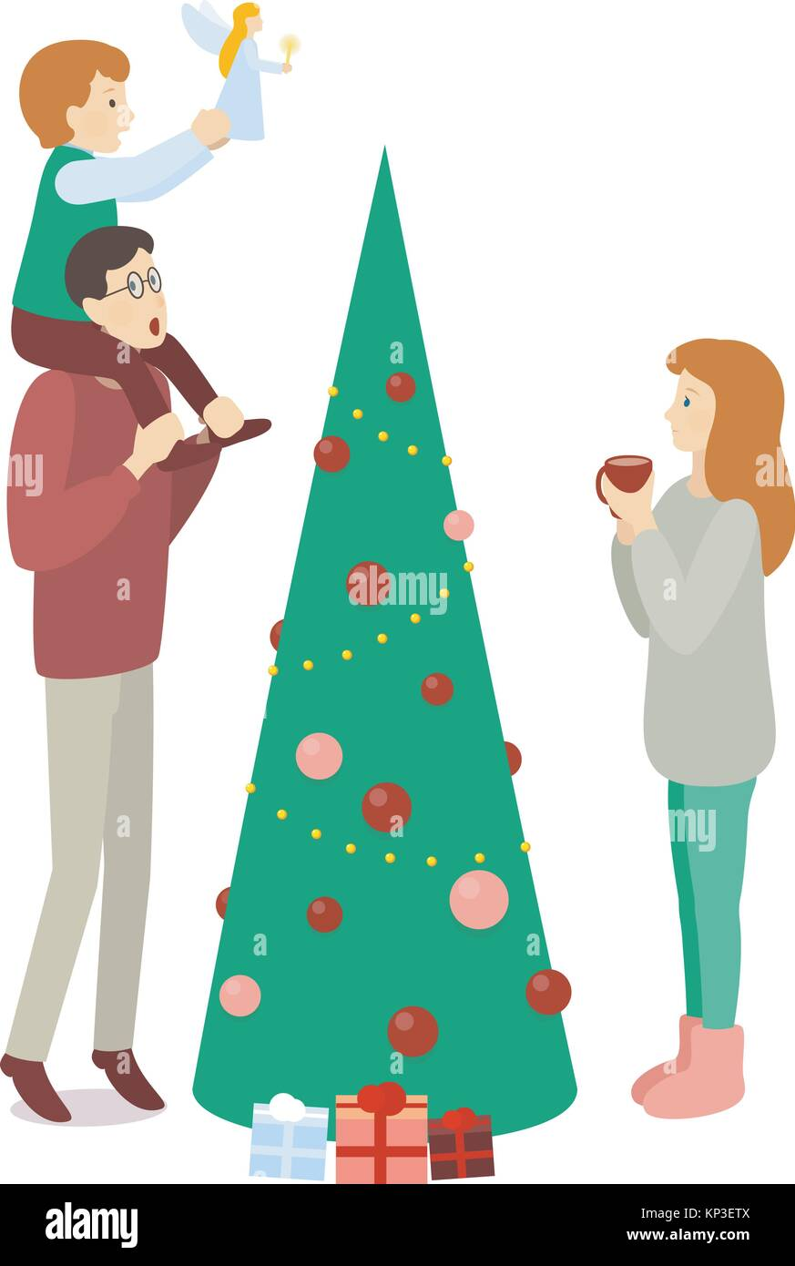 Auguri Di Natale Per La Famiglia.Spruced Albero Di Natale Decorazione Di Famiglia Papa Mamma E
