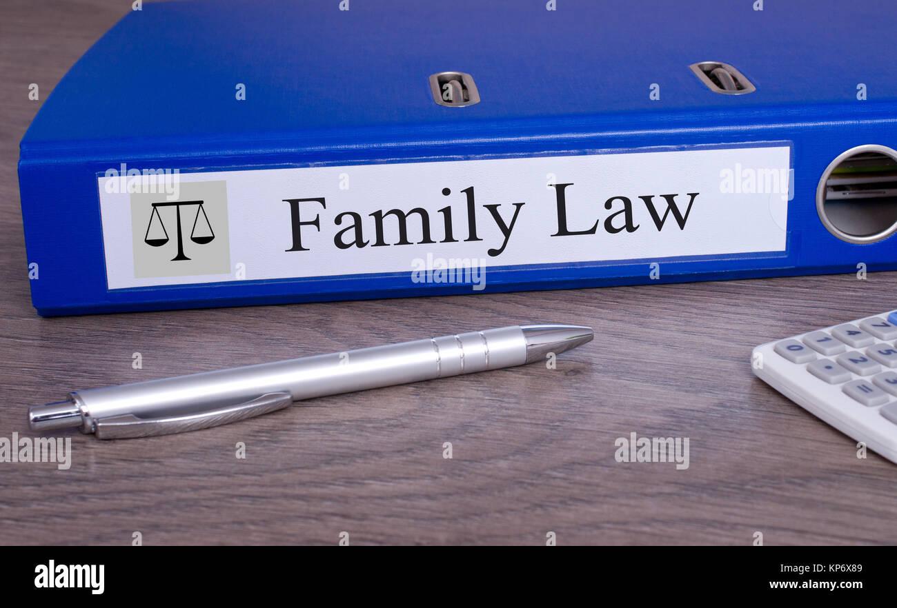 Diritto di famiglia legante blu in ufficio Immagini Stock