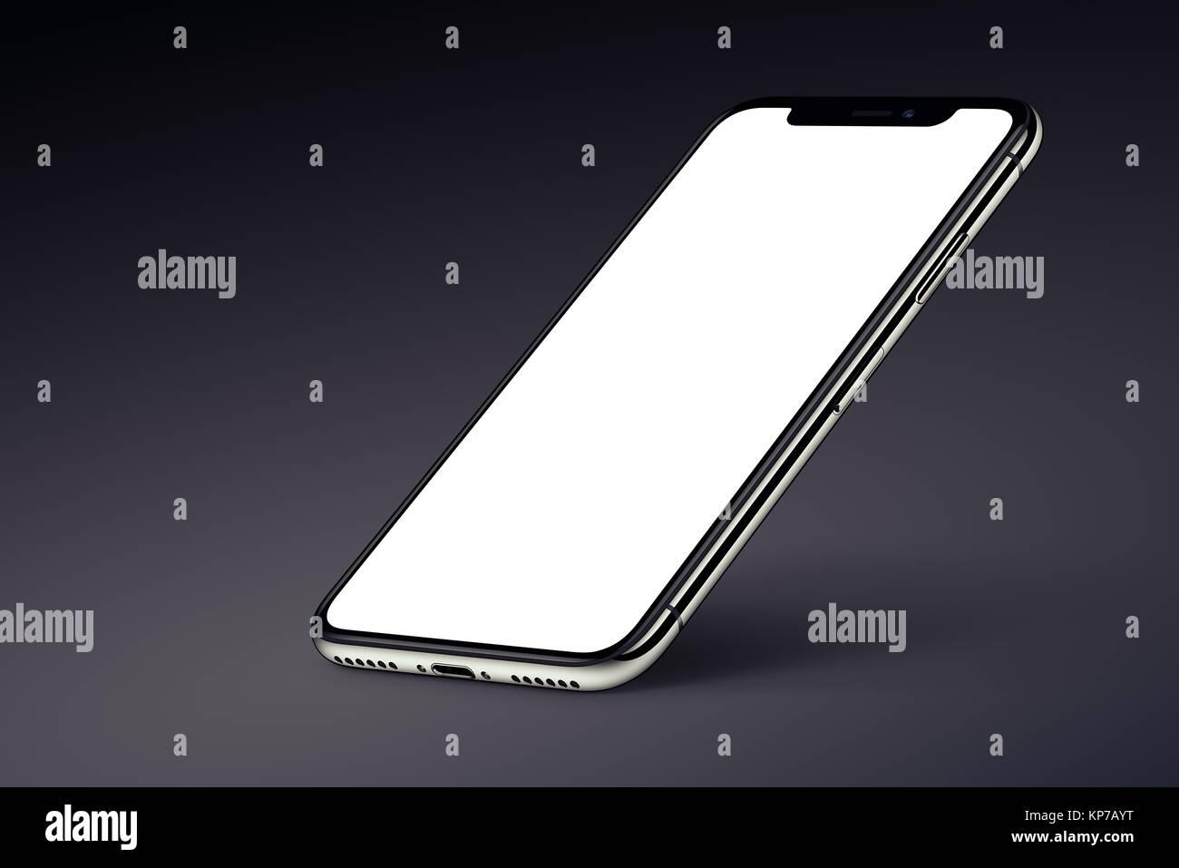 Prospettiva Iphone Smartphone X Mockup Con Ombra Su Sfondo Scuro